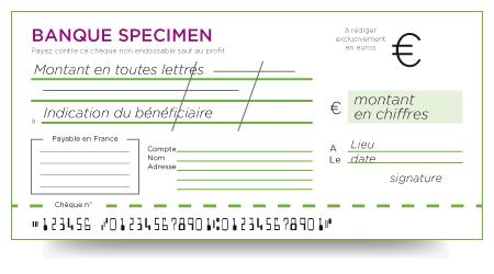 Mentions légales sur un chèque